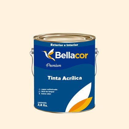 Tinta Acrílica Acetinado Premium A22 Creme Branco 3,2L Bellacor