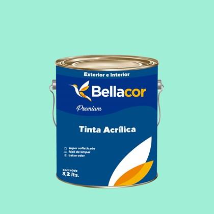 Tinta Acrílica Acetinado Premium A63 Verde Paradisíaco 3,2L Bellacor
