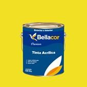 Tinta Acrílica Acetinado Premium B54 Amarelo Limão 3,2L Bellacor