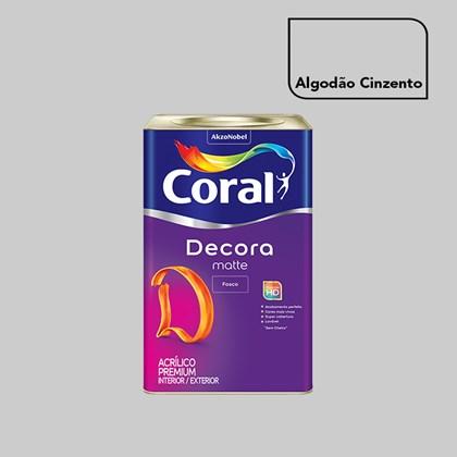 Tinta Acrílica Fosca Decora Matte Algodão Cinzento 16L Coral