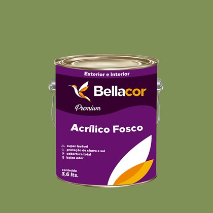 Tinta Acrílica Fosca Premium C20 Verde Pasto 3,2L Bellacor