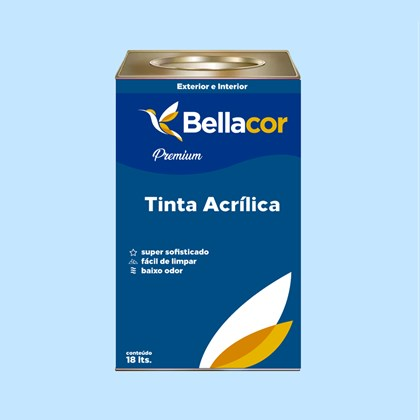 Tinta Acrílica Semi-Brilho Premium A80 Azul Celeste 16L Bellacor