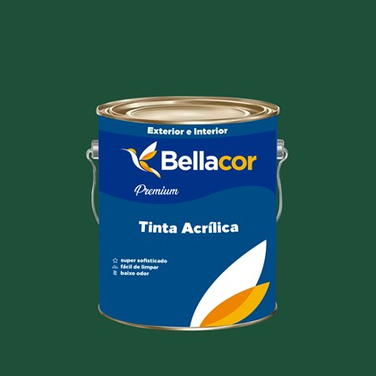 Tinta Acrílica Semi-Brilho Premium C68 Verde Floresta 3,2L Bellacor