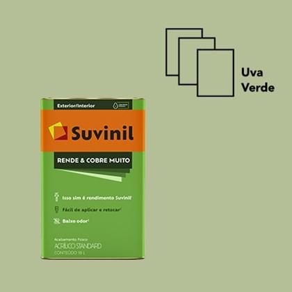 Tinta Acrílica Standard Fosco Rende e Cobre Muito Uva Verde 18L Suvinil